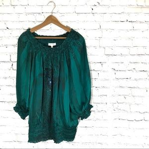 Emerald Green Silky Women's Blouse Cinched Bottom